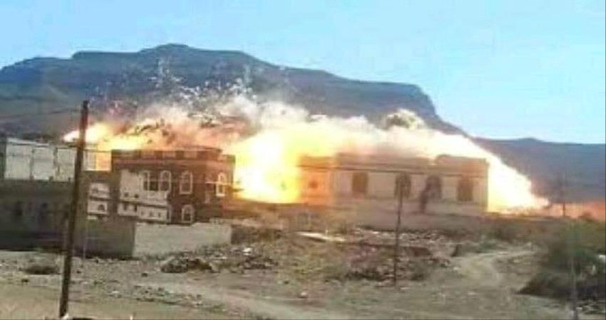 صورة- #الحـوثيون يفجرون منزل شيخ